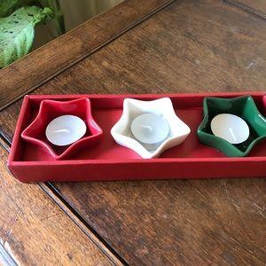 Other - Set of 3 star shape ceramic votive holders.